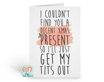 rude christmas card, naughty christmas card, tits christmas card, funny boyfriend christmas card, lesbian christmas card, dirty christmas