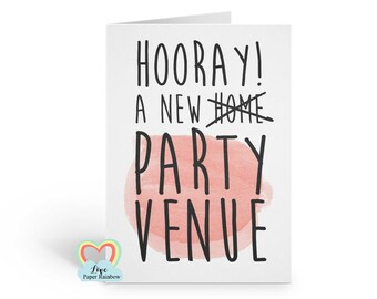 funny new home card | hooray new party venue | new house card | housewarming card | love paper rainbow