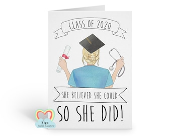 personalised nurse graduation card, nurse graduation gift, personalised nurse graduation print, she believed she could so she did