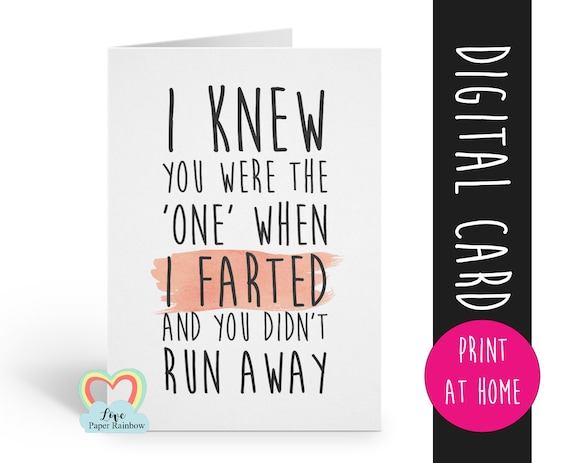 PRINTABLE funny anniversary card printable boyfriend card digital download love card instant download valentine's day card fart card
