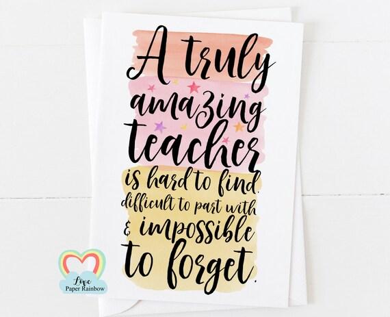 teacher card thank you teacher retirement card teacher gift teacher quote teacher poem a truly amazing teacher is hard to find