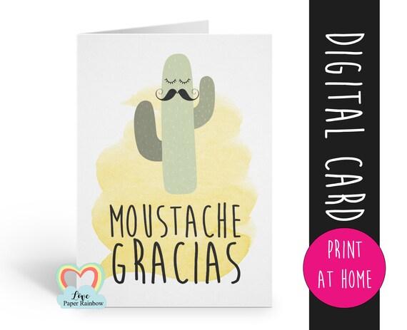 PRINTABLE thank you card funny thanks card teacher appreciation moustache gracias cactus