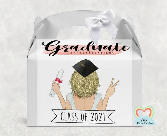 graduation gift box, graduate box, graduation gift, personalised graduation gift, class of 2021, graduation treat box, graduation party box