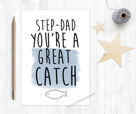 stepdad father's day card step dad  you're a good catch thank you card thanks stepdad card stepdad birthday card