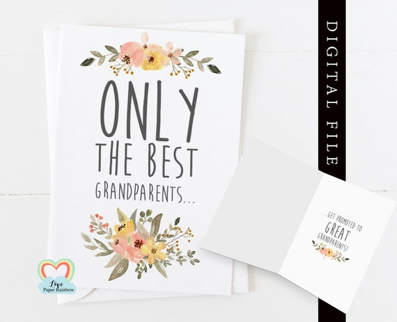 PRINTABLE pregnancy announcement, you're going to be great grandparents, only the best grandparents get promoted to great grandparents