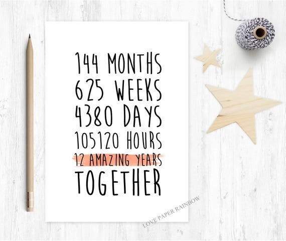 12th anniversary card, 12th wedding anniversary card, 12 years together, 12 amazing years, gay anniversary card, valentines card, romantic