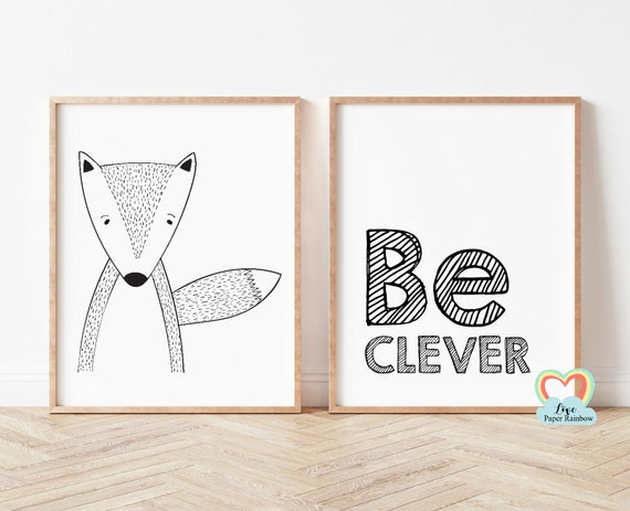 be clever nursery print, fox nursery print, black and white nursery prints, nursery quote, baby boy gift, be clever fox, cute nursery art
