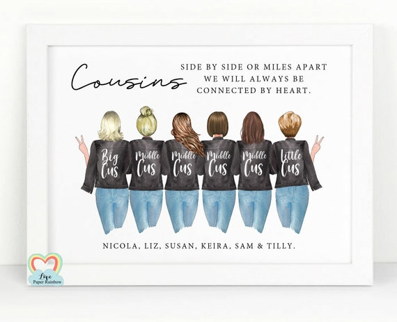 cousins print, personalised cousins print, 6 cousins print, side by side or miles apart, cousin quote, cousin birthday gift,