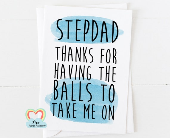 funny father's day card stepdad, thanks for having the balls to take me on, stepdad birthday card, stepdad card, thanks stepdad