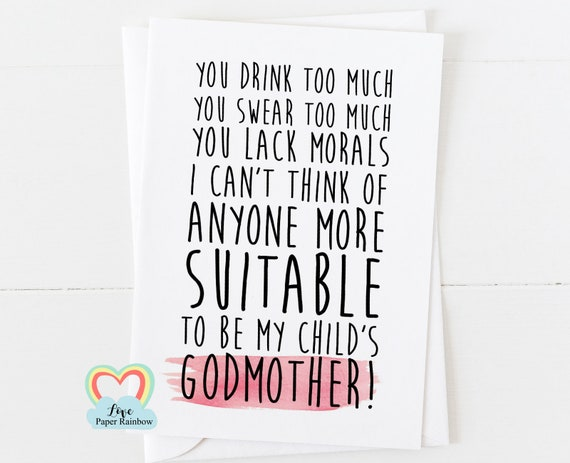 funny will you be my godmother card, funny godmother card, you swear too much, godmother proposal