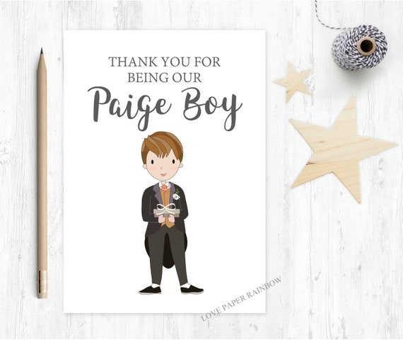 paige boy card thanks for being our paige boy thank you