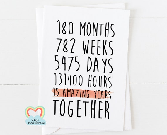 15th anniversary card, 15th wedding anniversary card, 15 amazing years, 15 years together, valentines card, gay anniversary card