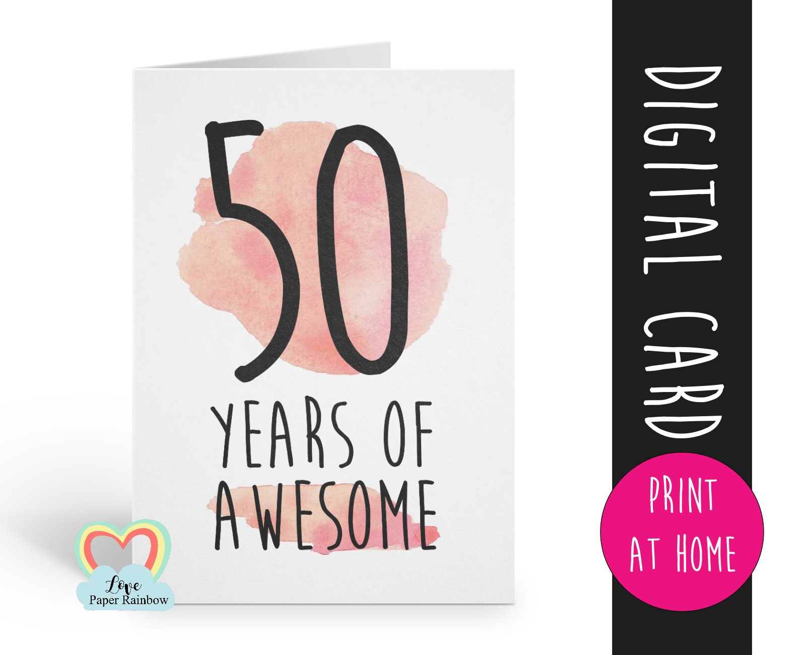 graphic about Printable 50th Birthday Cards identify PRINTABLE 50th birthday card, birthday card printable, immediate