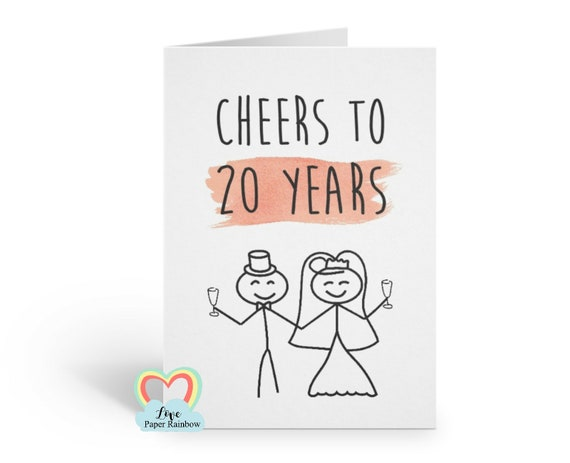 20th wedding anniversary card, 20th anniversary, 20 years together, 20th wedding anniversary gift, personalised anniversary card