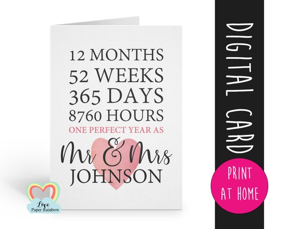 anniversary card printable | 1st anniversary printable | custom anniversary card | personalised | Mr and Mrs printable | one perfect year