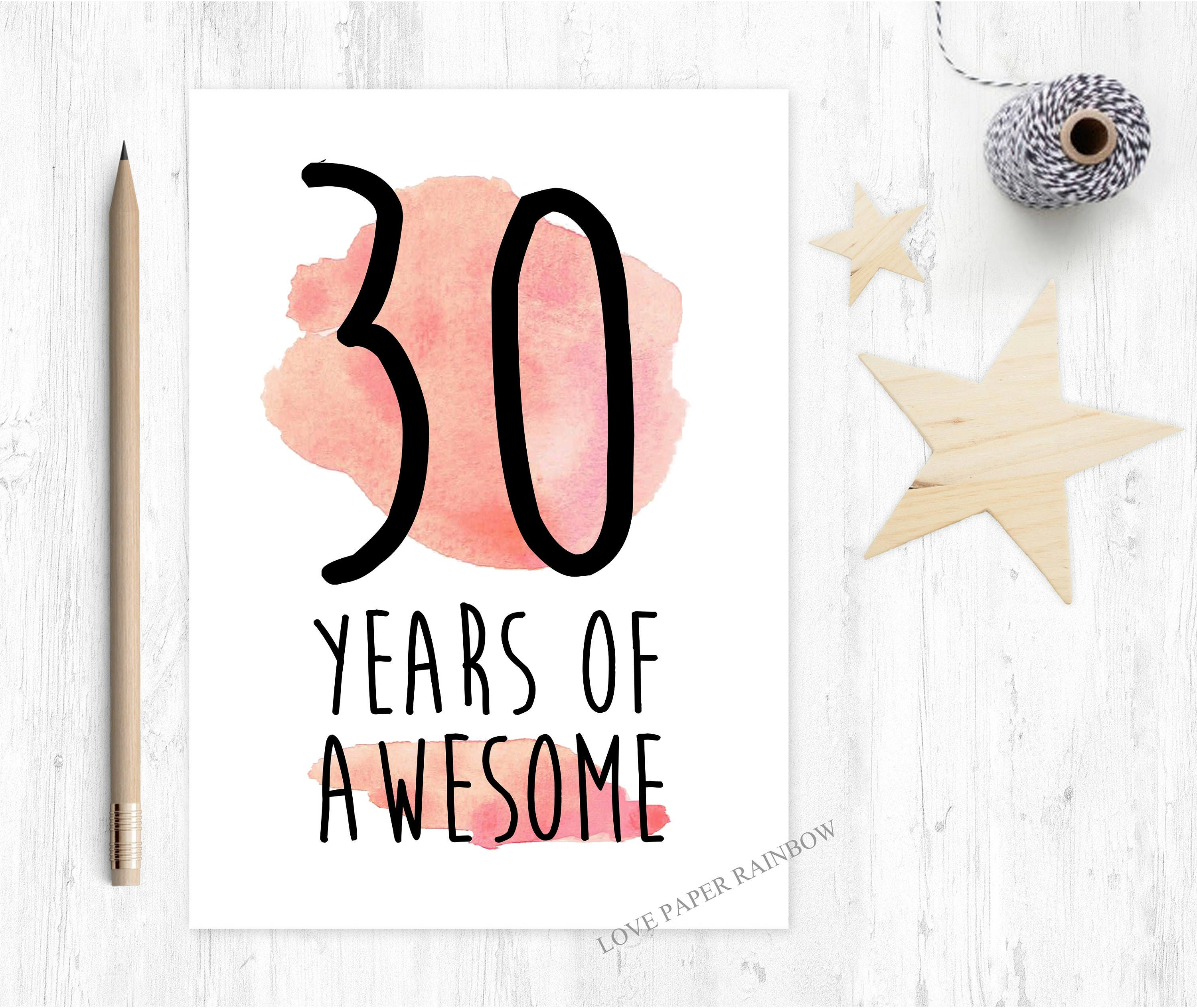 30th Birthday Card Funny 30 Years Of
