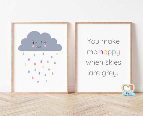 You make me happy when skies are grey, nursery print, weather prints, raincloud, new baby gift, pastel nursery print, cloud nursery print