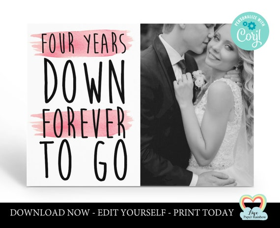 personalized 4th anniversary card template 4th anniversary printable card 4 years down forever to go instant download 4th anniversary gift