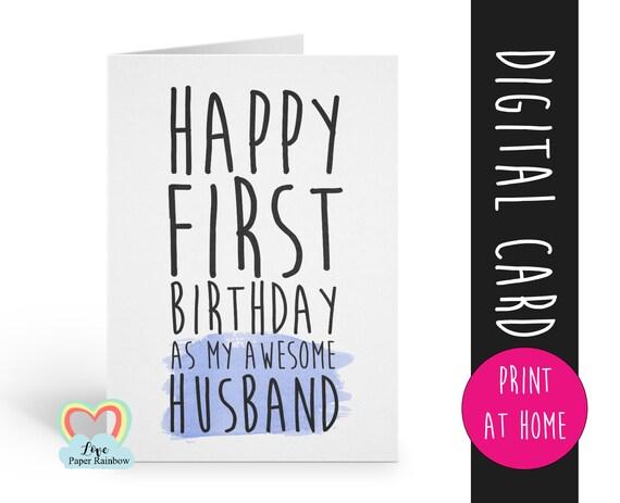 printable birthday card | husband birthday printable | husband birthday card instant download | 1st birthday as my husband | funny | gay