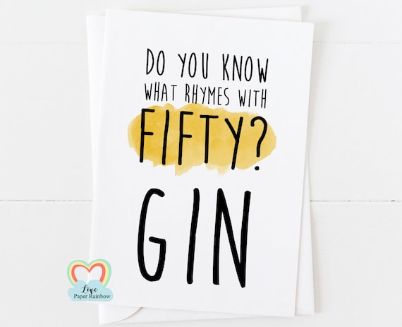 funny 50th card, funny 50th birthday card, gin card, 50th gin, 50th birthday, drink birthday card, prosecco, gin birthday
