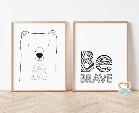 be brave nursery print, bear nursery print, black and white nursery prints, nursery quote, baby boy gift, be brave bear, simple nursery art