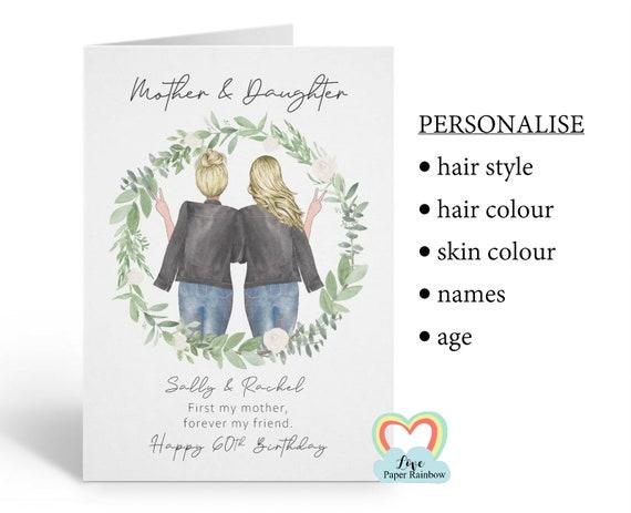 mum 60th birthday card, personalised mum birthday card, mother and daughter birthday card, mother birthday card, floral mum birthday card