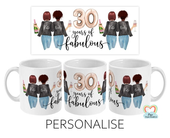 best friend 30th birthday mug, besties mug, 30 years of fabulous, mugs for best friend, sister 30th birthday, custom 30th birthday gift