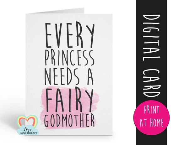 fairy godmother card printable will you be my godmother instant download every princess needs a fairy godmother proposal digital download