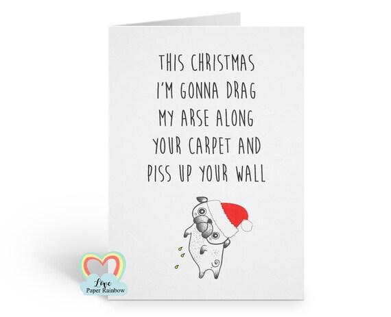 funny christmas card, funny pug christmas card, adult christmas card, rude christmas card, dog christmas card, swear christmas card