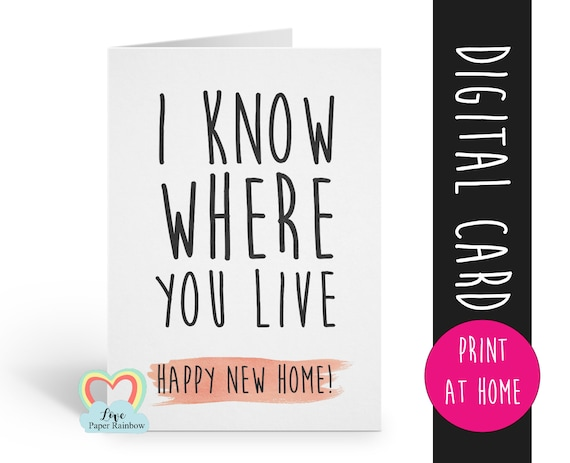 PRINTABLE new house card funny moving house card funny new home card new home card new house card, moving home card, moving house card, rude