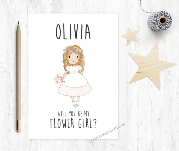flower girl card, will you be my flower girl card, personalised flower girl card, flower girl proposal, bridesmaid card