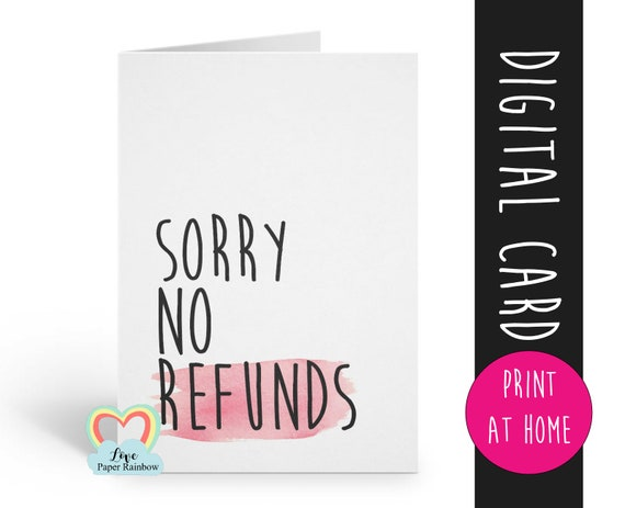 funny anniversary card printable valentines day card sorry no refunds love card digital download boyfriend card girlfriend card instant