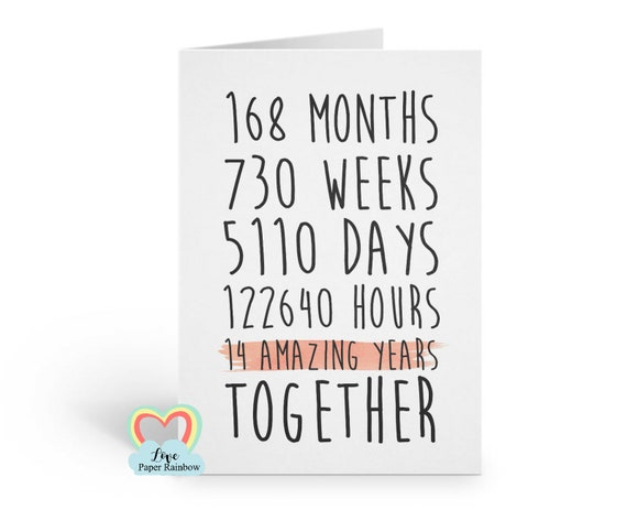 14th anniversary card, 14th wedding anniversary card, 14 amazing years, 14 years together, gay anniversary card, valentines card, romantic