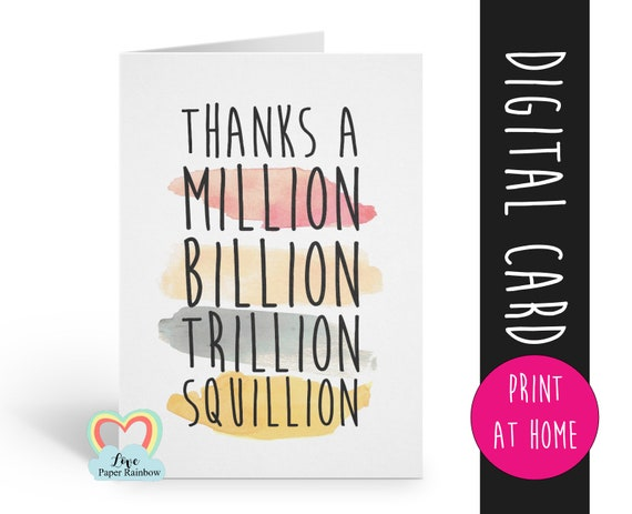 thanks a million, thank you card, funny thank you card, thanks card, funny thanks card, thankyou card