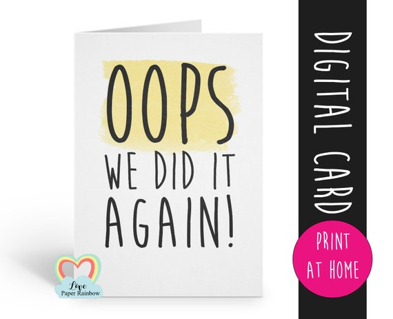 PRINTABLE funny pregnancy announcement card instant download baby number 2 your'e going to be a grandma grandad i'm pregnant we're expecting