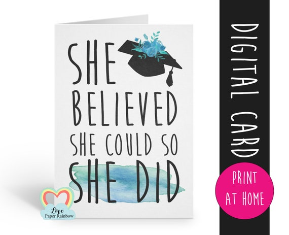graduation card printable, class of 2019, she believed she could so she did, graduation card digital download, graduation printable