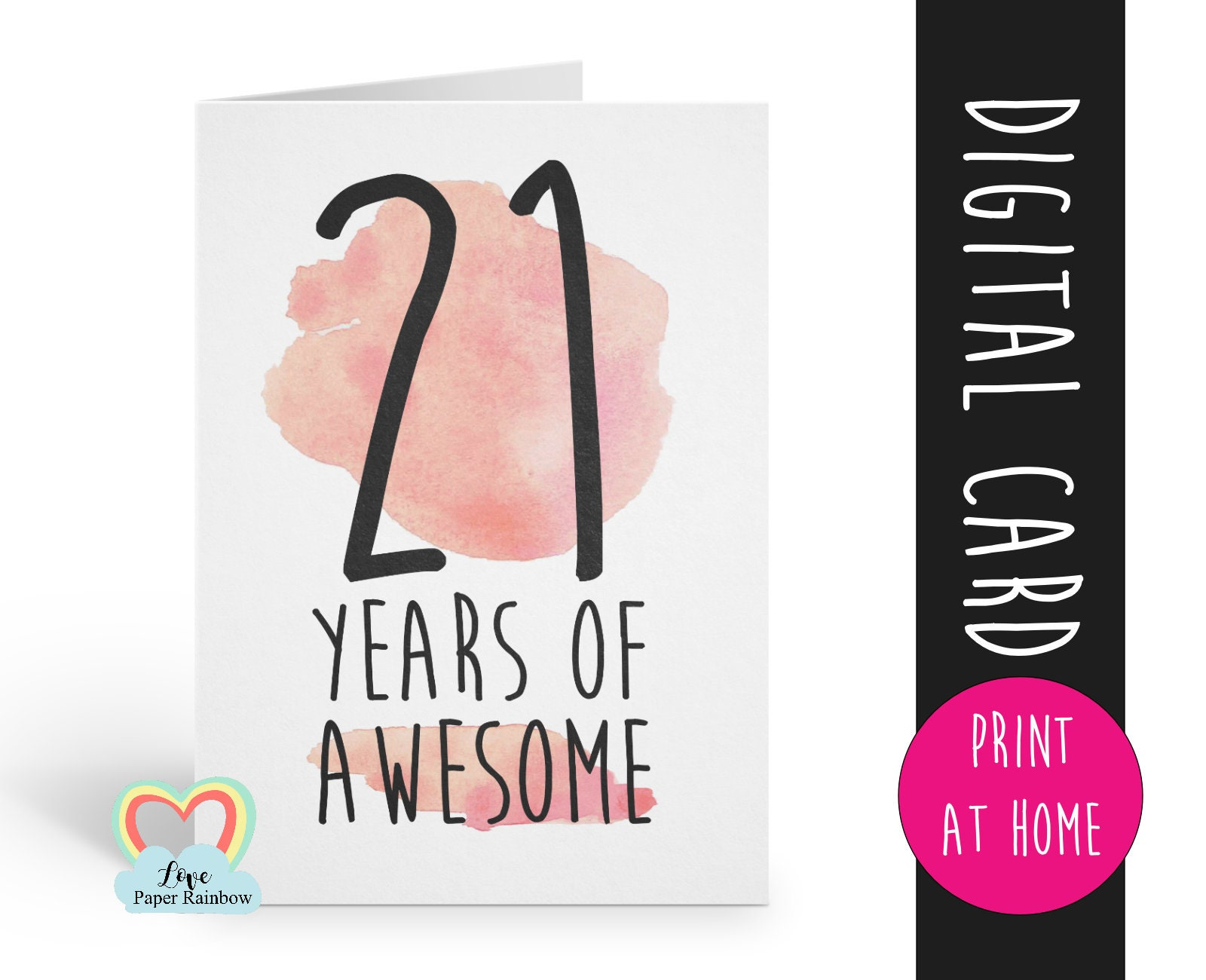 image about 21st Birthday Cards Printable named PRINTABLE 21st birthday card, birthday card printable, instantaneous