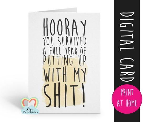 anniversary card printable funny love card digital download boyfriend valentines card rude anniversary girlfriend boyfriend put up with me