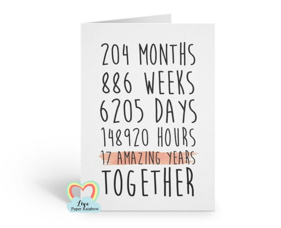 17th anniversary card, 17th wedding anniversary card, 17 amazing years, 17 years together, gay anniversary card, valentines card
