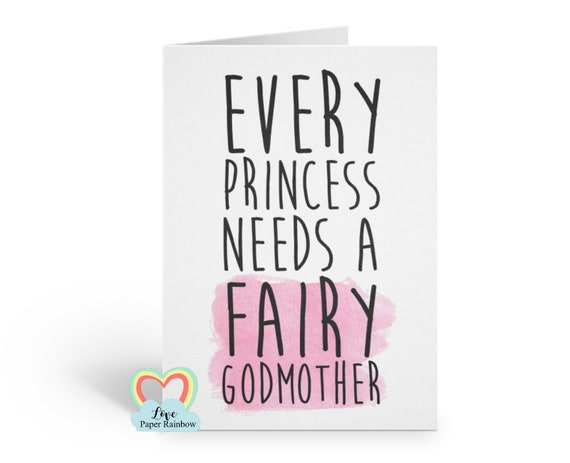 fairy godmother card, will you be my godmother, every princess needs a fairy godmother, godmother proposal, pink
