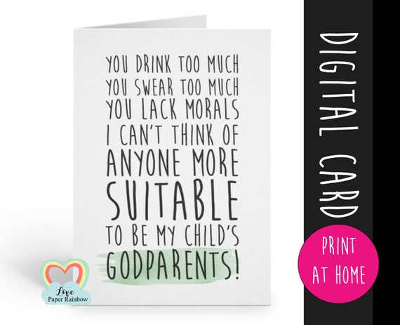 will you be my godparents card printable godparents card, funny godparents card printable, godparents proposal downloadable card