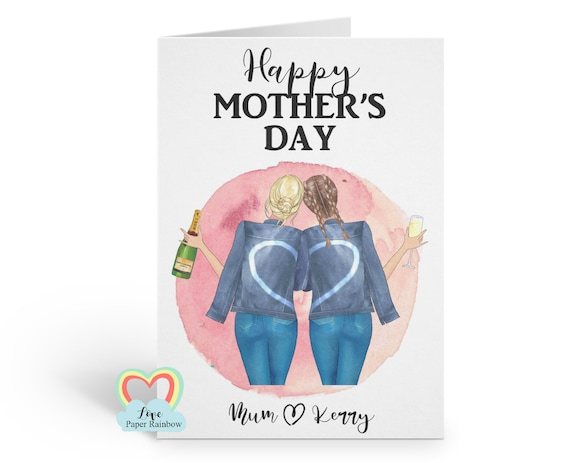 personalised mother's day card portrait custom hairstyles mum and daughter card love paper rainbow