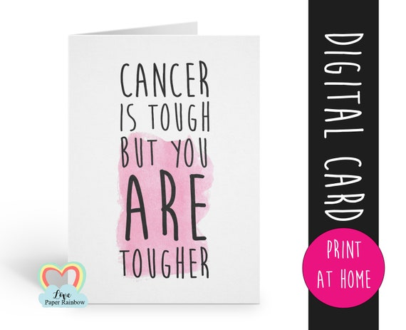 cancer card printable | cancer is tough but you are tougher | instant download | cancer awareness | cancer printable | cancer support