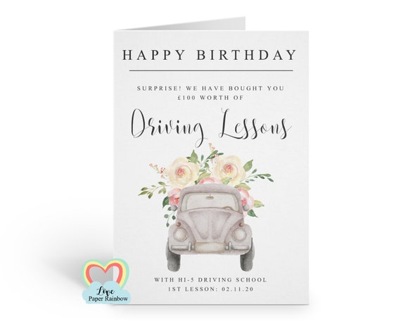 driving birthday card, driving lessons, driving lessons gift voucher, driving lessons gift, driving lessons birthday surprise,