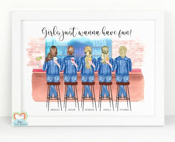 5 best friends print, personalised friends print, friendship print, girls just wanna have fun, friendship quote, best friends birthday gift