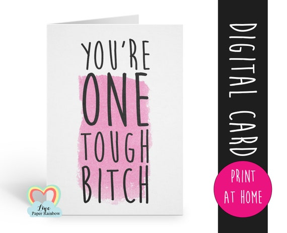 cancer card printable | you're one tough bitch | instant download | cancer awareness | cancer printable | cancer support | cancer survivor