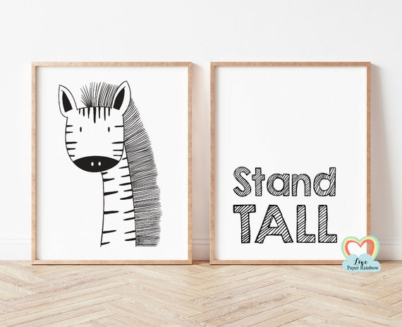stand tall nursery print, giraffe nursery print, black and white nursery prints, nursery quote, baby boy gift, zoo theme nursery
