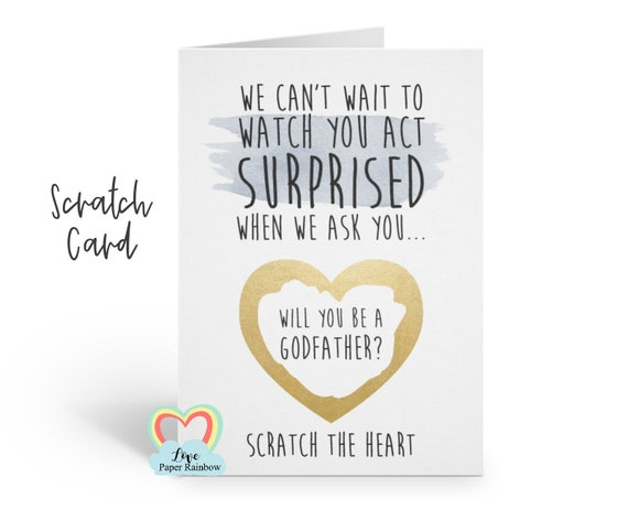 godmother scratch card, funny godmother card, act surprised, godfather scratch card, will you be my godparents, godmother proposal