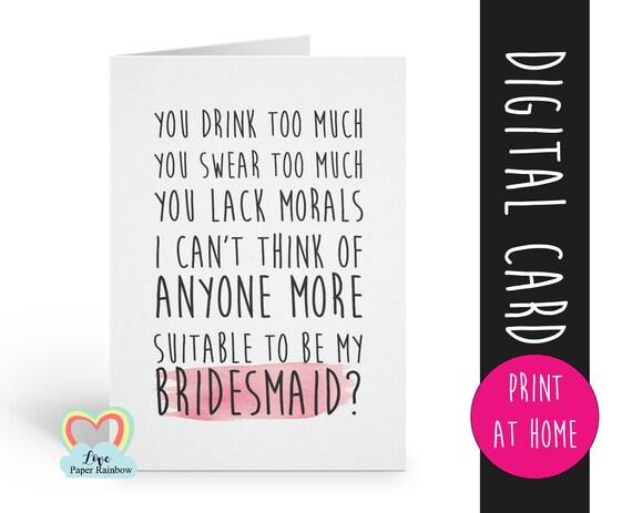 PRINTABLE bridesmaid card, will you be my bridesmaid printable, funny bridesmaid card printable, digital download bridesmaid proposal