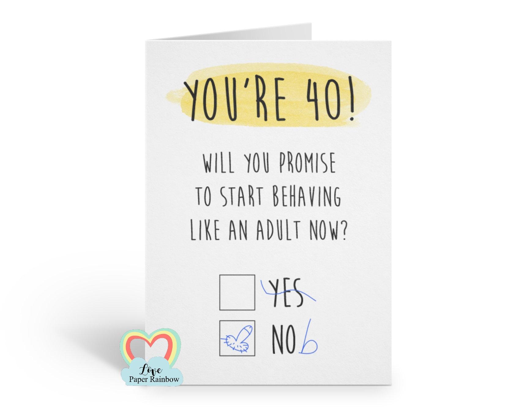 Funny 40th Birthday Card Rude Grow Up